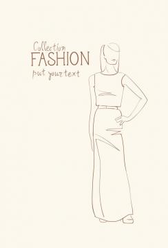 简约线条风格时尚无袖衫长裙子职业女性时装设计草图图片免抠矢量素材