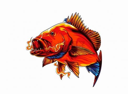 漫画风格凶狠的红色海鱼png图片免抠矢量素材