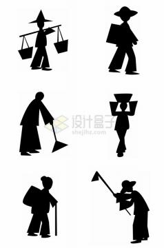 6款挑担子扫地种田的农民劳动人民剪纸剪影png图片素材