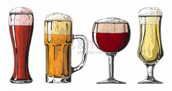 彩色素描风格不同造型的啤酒杯png图片免抠矢量素材