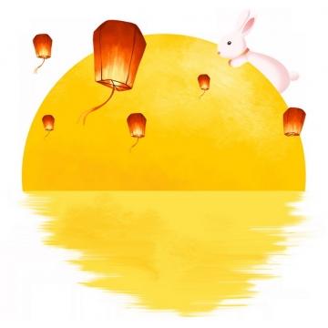 水面上的黄色月亮图案和孔明灯玉兔中秋节装饰147398png免抠图片素材