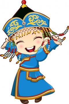 蓝色传统服饰的跳舞卡通蒙古族少女png图片素材