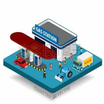 卡通汽车加油站和人群png图片素材