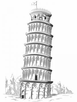 手绘素描风格比萨斜塔世界知名旅游景点png图片免抠矢量素材