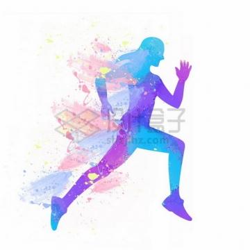 彩色泼墨涂鸦风格跑步的美女剪影png免抠图片素材