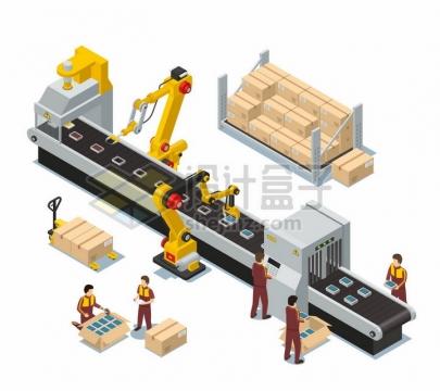 2.5D工厂生产流水线上的机械手臂和工人png图片素材