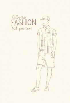 简约线条风格时尚帽子短裤休闲男装时装设计草图图片免抠矢量素材
