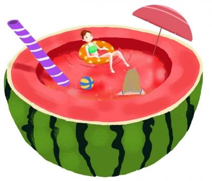 创意夏日水果在西瓜中游泳的女孩抽象图片免抠素材
