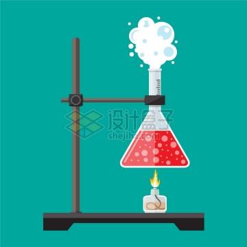 酒精灯加热实验架上的锥形瓶化学实验仪器png图片素材
