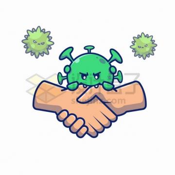 MBE风格卡通新型冠状病毒撕咬握手png图片素材
