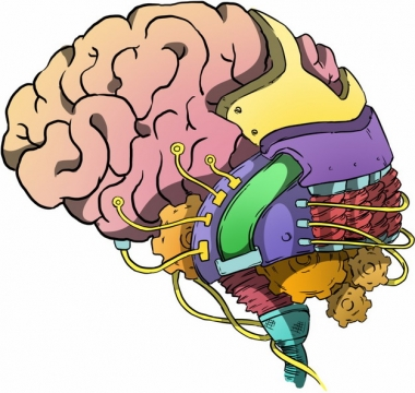 大脑和机械的结合体抽象插画442674png免抠图片素材
