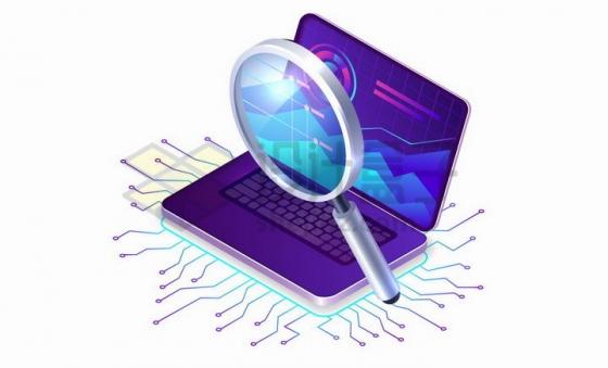 笔记本电脑上的放大镜和电路png图片免抠矢量素材