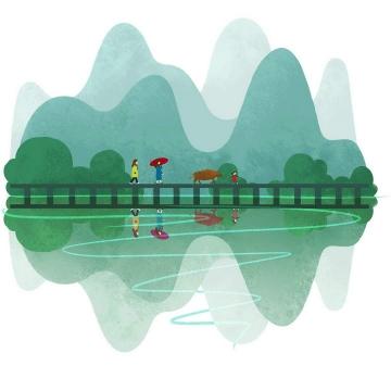 彩色水彩画插画风格绿色桂林山水图片旅游免抠素材