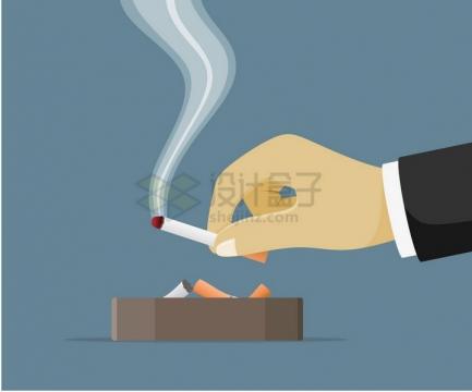 一只手拿着香烟扔进烟灰缸中吸烟有害健康png图片免抠矢量素材