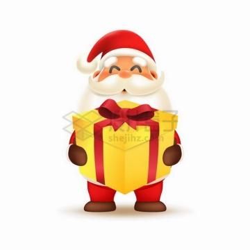 超可爱卡通圣诞老人抱着金黄色的礼物盒png图片素材