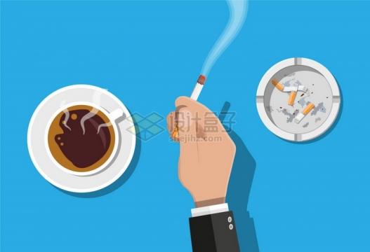 一只手夹着冒烟的香烟旁边是烟灰缸和咖啡杯png图片素材