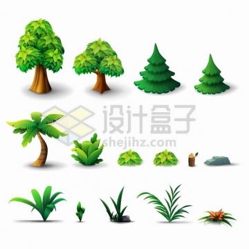 卡通参天大树雪松树椰子树灌木丛小草小花png图片素材