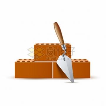 建筑工人的铲子和砖块空心砖头png图片矢量图素材