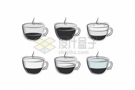 6款手绘风格咖啡杯饮料插画113283 png图片素材