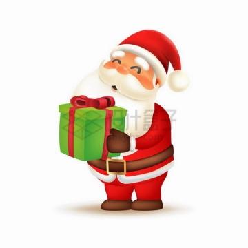 超可爱卡通圣诞老人抱着绿色的圣诞礼物盒png图片素材