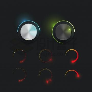 炫酷的金属光泽圆形按钮适合黑色背景png图片素材