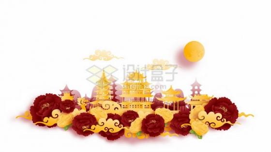 彩色剪纸叠加中国风西安城市风景609508png矢量图片素材