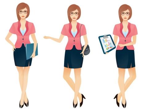 3款卡通美女秘书商务人士职场女性正在为你展示数据报表文件图片免抠矢量素材