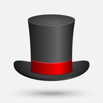 红黑色的魔术帽礼帽高帽子免抠矢量图片素材
