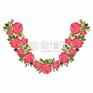 红色玫瑰花组成的V形装饰花环png图片免抠矢量素材