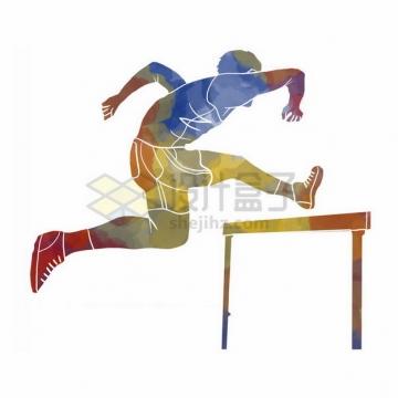 跨栏的运动员彩色涂鸦8065324png免抠图片素材