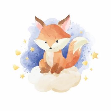 彩绘风格坐在云端的卡通狐狸png图片免抠矢量素材
