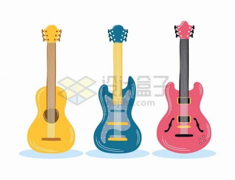 黄色蓝色粉色的吉他音乐乐器png图片素材