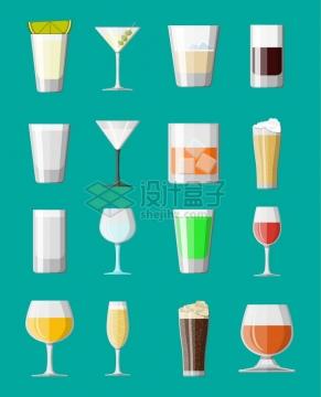 各种高脚杯饮料杯啤酒杯等玻璃杯扁平插画png图片素材