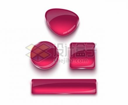 圆形方形不规则形状漂亮的红色玻璃水晶效果按钮280771png图片素材