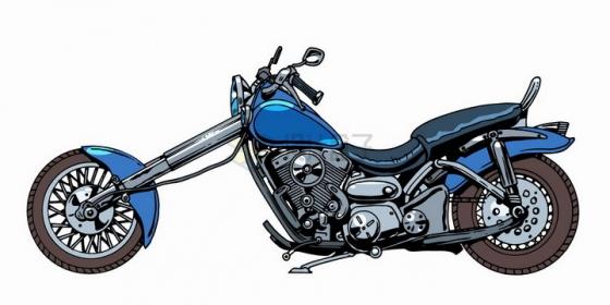 漫画风格哈雷摩托车侧面图png图片免抠矢量素材