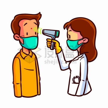 卡通女医生拿着额温枪非接触式红外温度计测量人体体温png图片素材