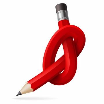 漫画风格扭曲在一起打结的红色铅笔png图片免抠矢量素材