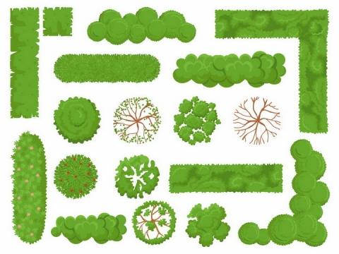 俯视视角的各种绿色公园树木灌木丛草丛植物装饰png图片免抠eps矢量素材