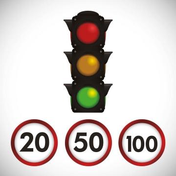限速标志和红绿灯交通安全png图片免抠素材