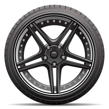 逼真的汽车轮胎和黑色铝合金轮毂侧面图png图片免抠矢量素材