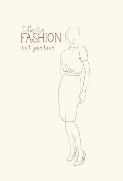 简约线条风格时尚修身包臀裙职业女性女装时装设计草图图片免抠矢量素材