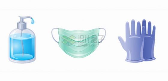 蓝色洗手液消毒液一次性医用口罩橡胶手套新冠病毒疫情png图片素材