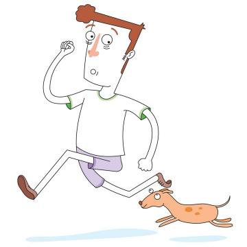 抽象漫画风格带着狗狗一起奔跑的男子遛狗png图片免抠矢量素材