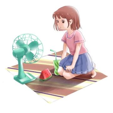 手绘插画风格炎炎夏日里正在吃西瓜吹电风扇的少女图片免抠素材
