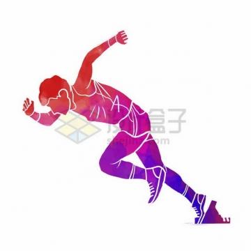 跑步起跑姿势彩色涂鸦809652png免抠图片素材