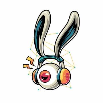 抽象漫画风格戴着耳机听歌的大眼睛眼球和兔耳朵装饰png图片免抠矢量素材