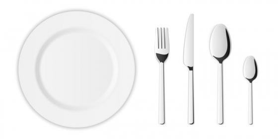 俯视视角的逼真白色餐盘和刀叉勺子餐具组合图片免抠矢量素材