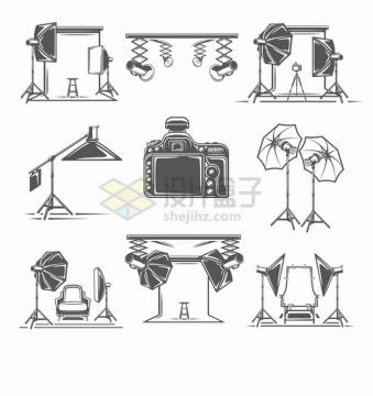 黑白色摄影棚拍照灯箱柔光灯美容灯单反照相机等拍摄工具png图片素材