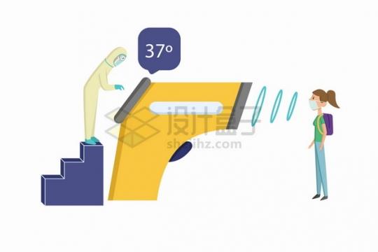 卡通医生控制巨大的额温枪非接触式红外温度计测量人体体温png图片素材