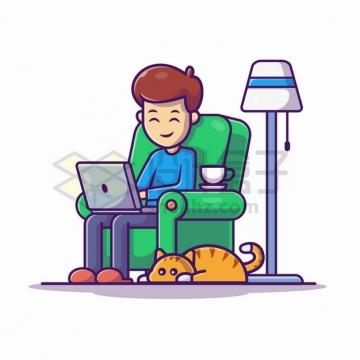 MBE风格坐在沙发上玩电脑的年轻人脚边趴着一只猫咪png图片素材